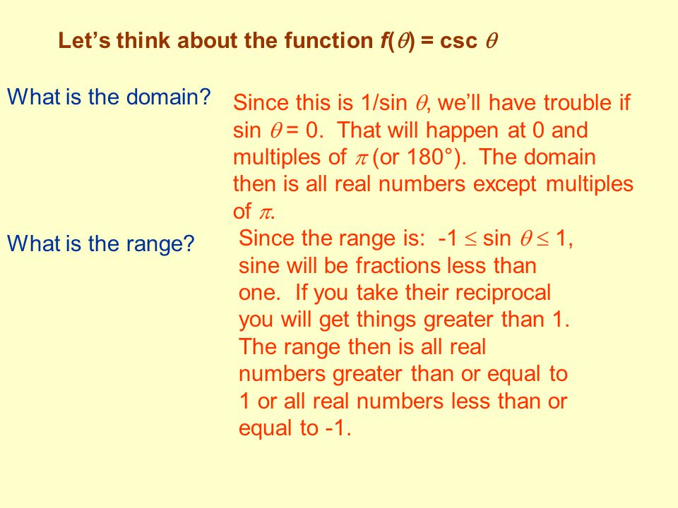 Let's think about the function f(  ) = csc  What is the domain? Since this is 1/sin , we'll have trouble if sin  = 0. That will happen at 0 and mu