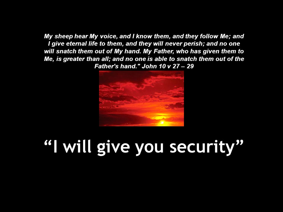 """""""I will give you security"""" My sheep hear My voice, and I know them, and they follow Me; and I give eternal life to them, and they will never perish; a"""