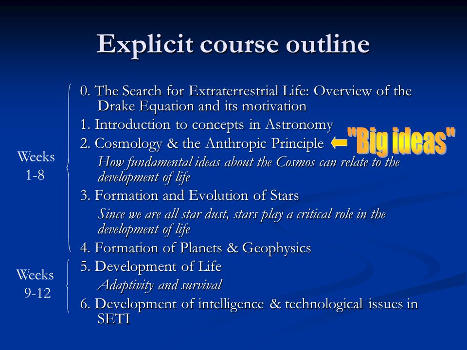 Explicit course outline 0.