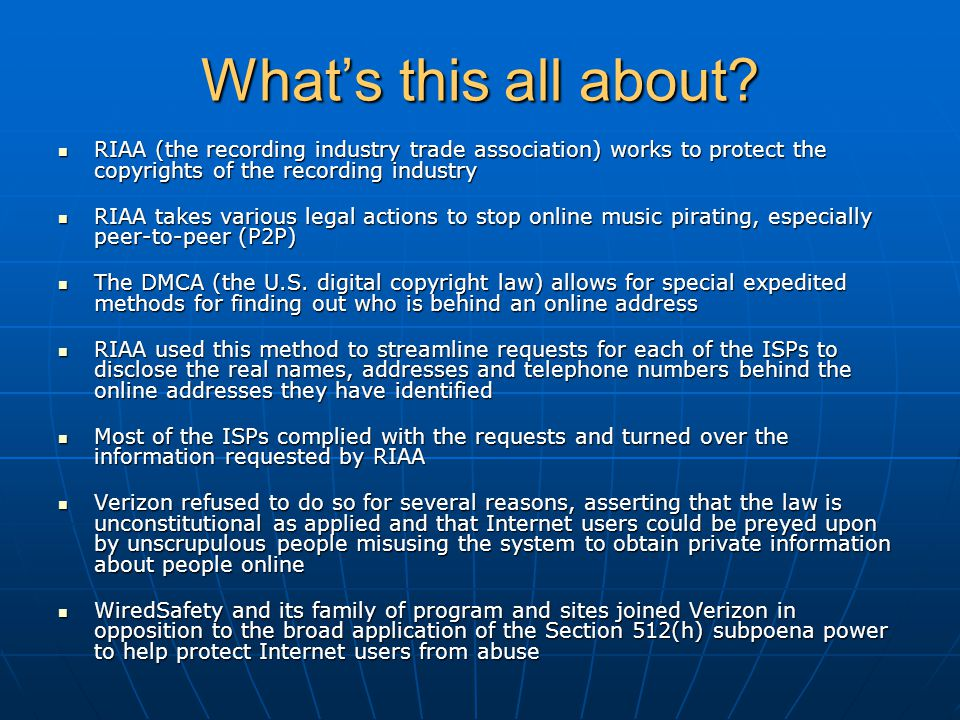 What's this all about? RIAA (the recording industry trade association) works to protect the copyrights of the recording industry RIAA (the recording i