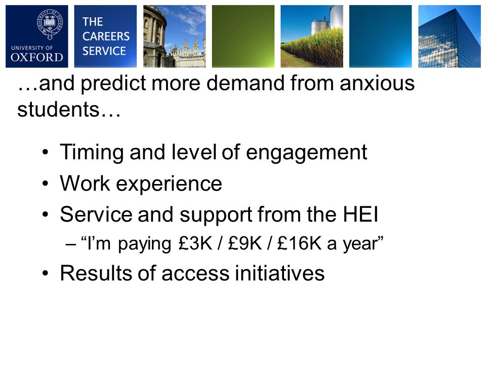 Timing and level of engagement Work experience Service and support from the HEI – I'm paying £3K / £9K / £16K a year Results of access initiatives …and predict more demand from anxious students…
