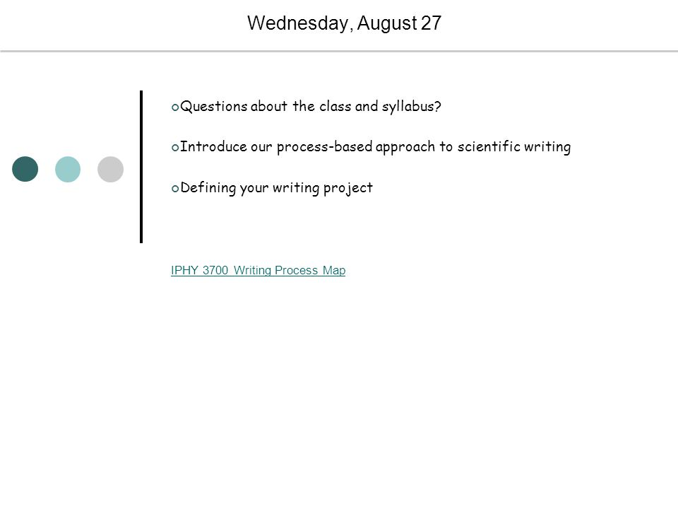 Wednesday, August 27 Questions about the class and syllabus.