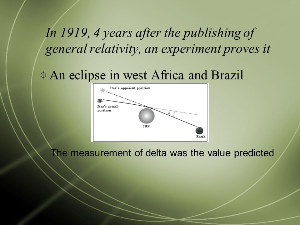 In 1919, 4 years after the publishing of general relativity, an experiment proves it  An eclipse in west Africa and Brazil The measurement of delta was the value predicted