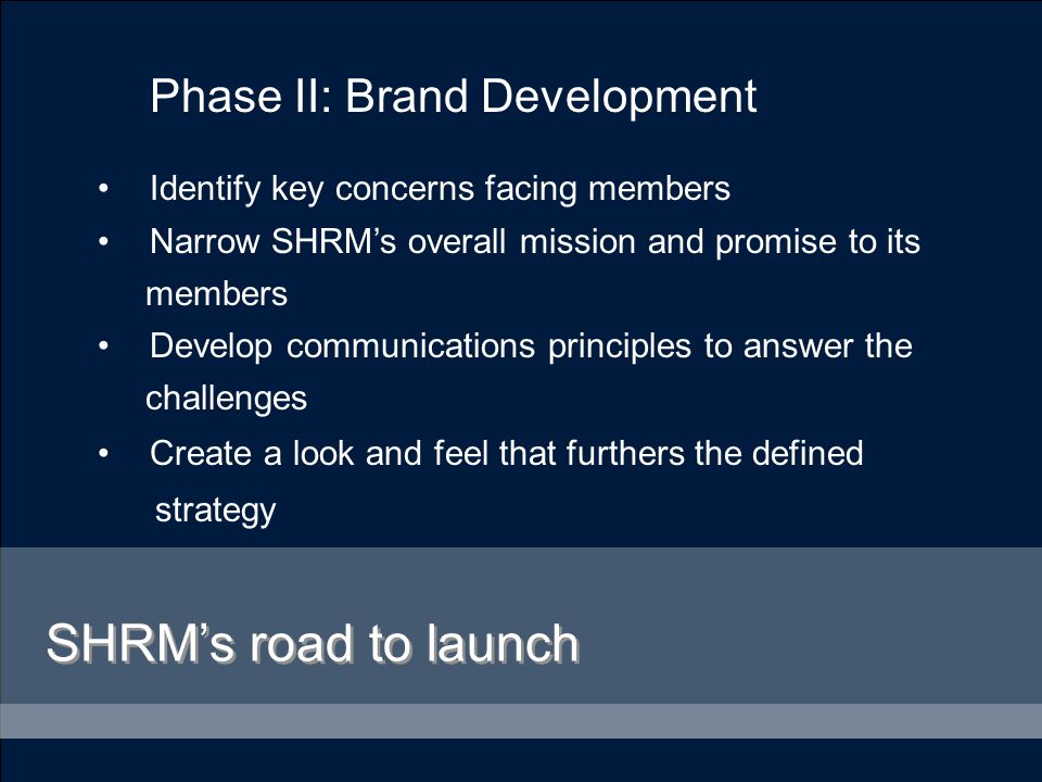 Phase III: Brand Refinement Conduct surveys and focus groups with members and non-members on the updated brand Refine design as necessary to accommodate all feedback SHRM's road to launch