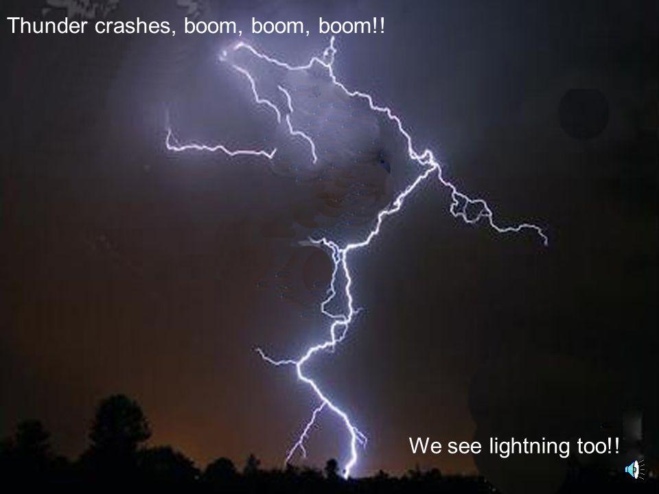 Thunder crashes, boom, boom, boom!! We see lightning too!!