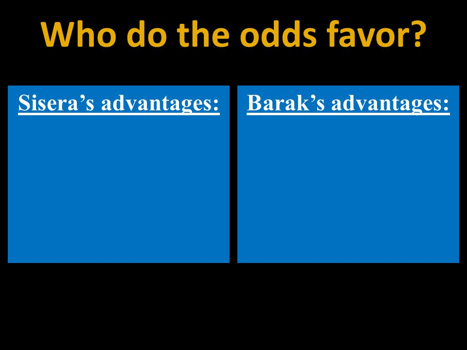 Sisera's advantages:Barak's advantages: Who do the odds favor