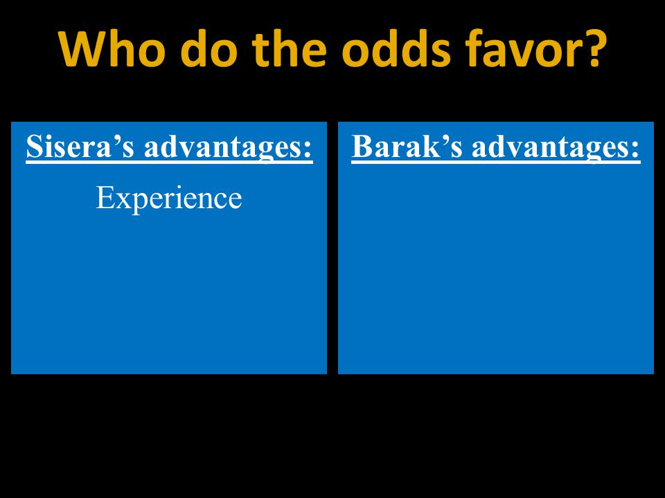 Sisera's advantages: Experience Barak's advantages: Who do the odds favor
