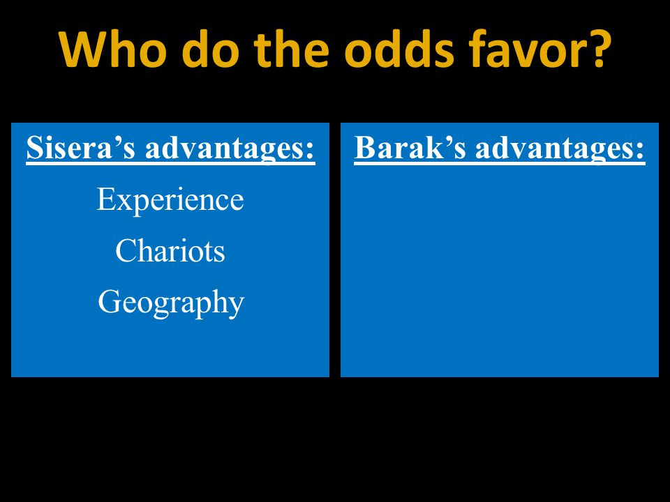 Sisera's advantages: Experience Chariots Geography Barak's advantages: Who do the odds favor