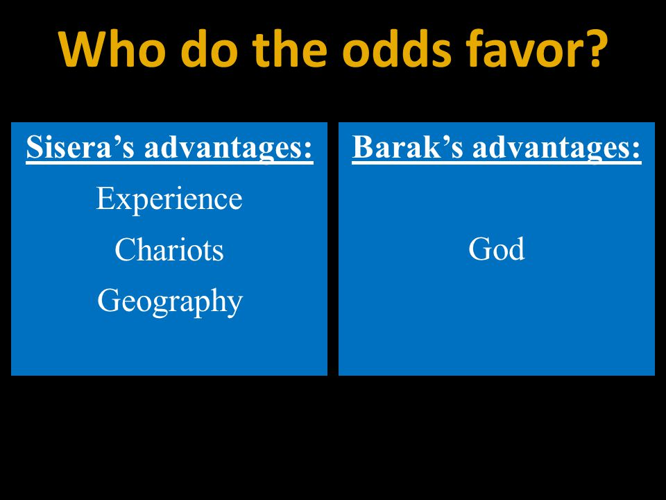 Sisera's advantages: Experience Chariots Geography Barak's advantages: God Who do the odds favor