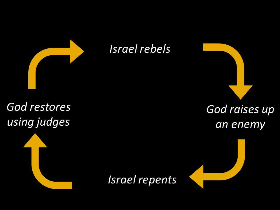 Israel rebels Israel repents God raises up an enemy God restores using judges Sin Supplication Suffering Salvation