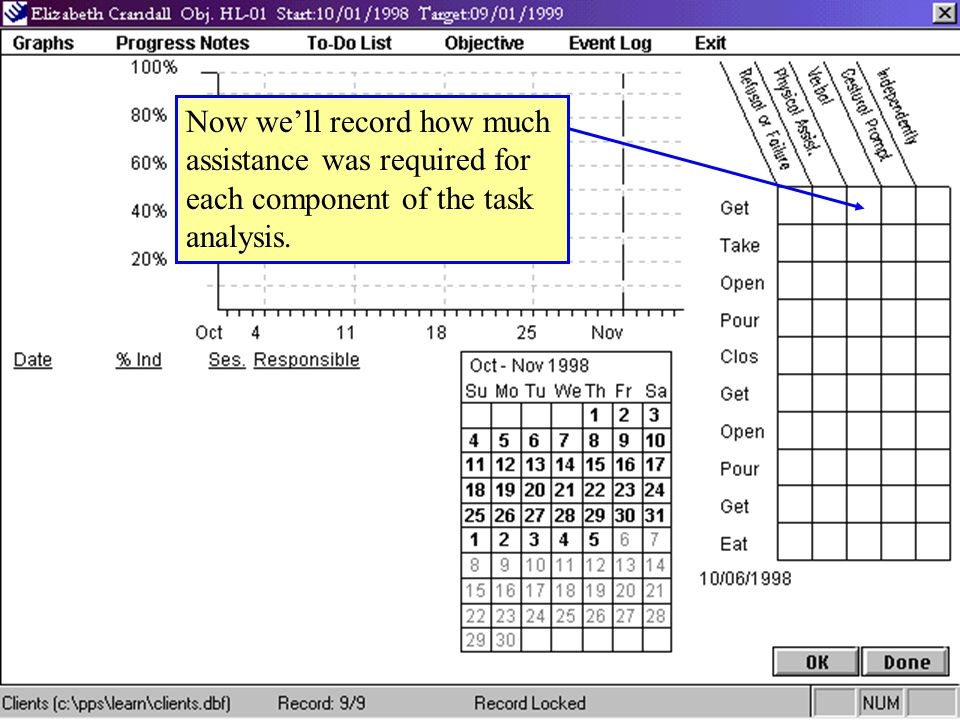 Now we'll record how much assistance was required for each component of the task analysis.
