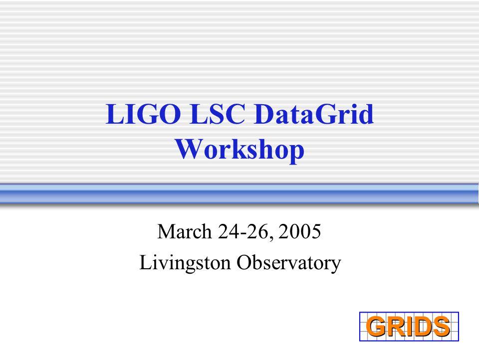 LIGO LSC DataGrid Workshop March 24-26, 2005 Livingston Observatory