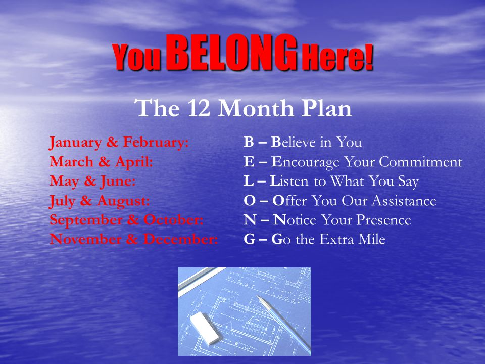 You BELONG Here! The 12 Month Plan January & February: B – Believe in You March & April: E – Encourage Your Commitment May & June:L – Listen to What Y