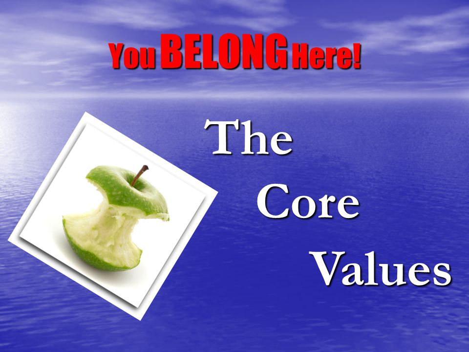 You BELONG Here! The Core Values