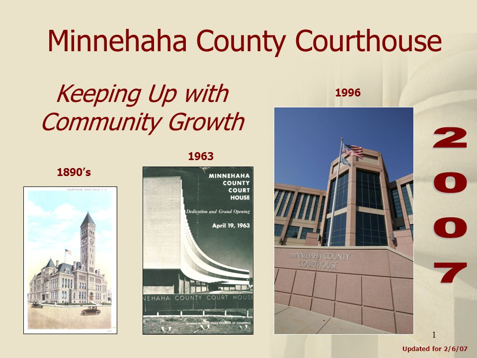 1 Minnehaha County Courthouse Updated for 2/6/07 Keeping Up with Community Growth 1890's 1963 1996
