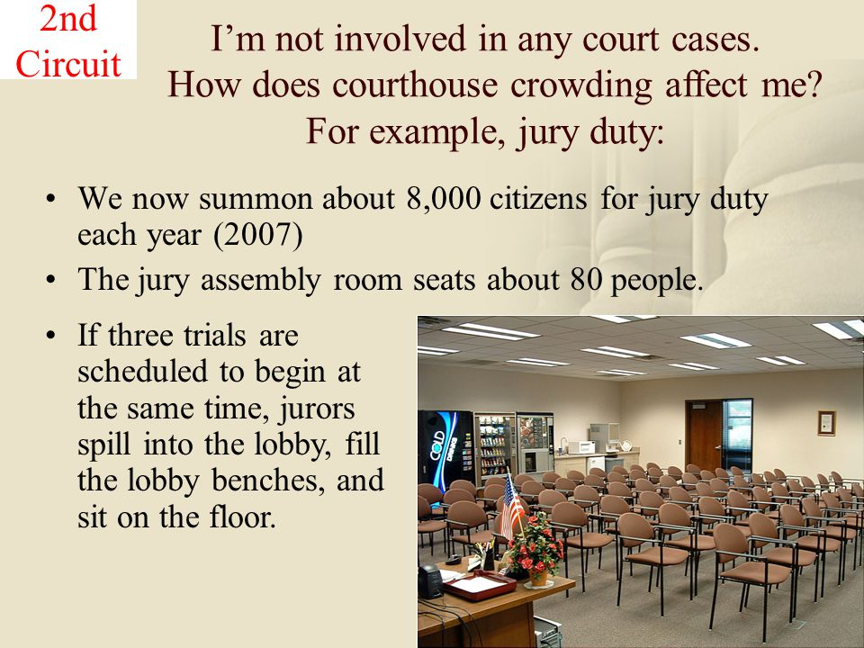 19 We now summon about 8,000 citizens for jury duty each year (2007) The jury assembly room seats about 80 people.