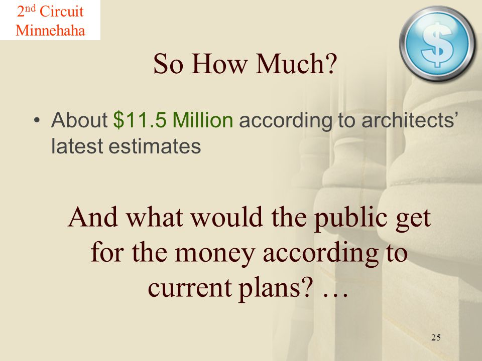 25 So How Much? About $11.5 Million according to architects' latest estimates 2 nd Circuit Minnehaha And what would the public get for the money accor