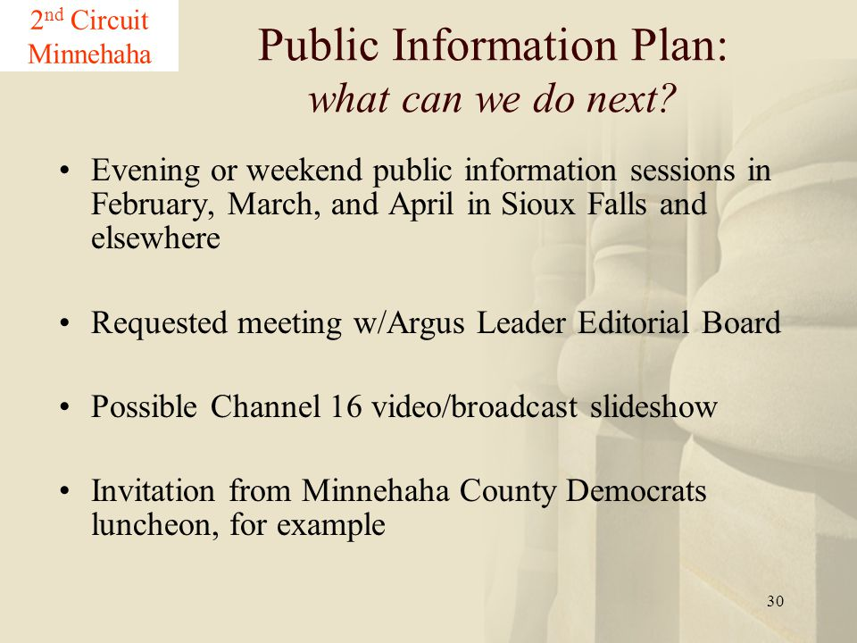 30 Evening or weekend public information sessions in February, March, and April in Sioux Falls and elsewhere Requested meeting w/Argus Leader Editoria