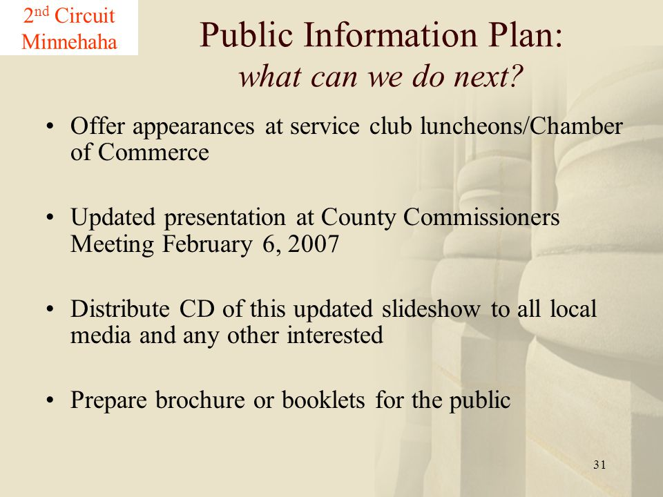 31 Offer appearances at service club luncheons/Chamber of Commerce Updated presentation at County Commissioners Meeting February 6, 2007 Distribute CD
