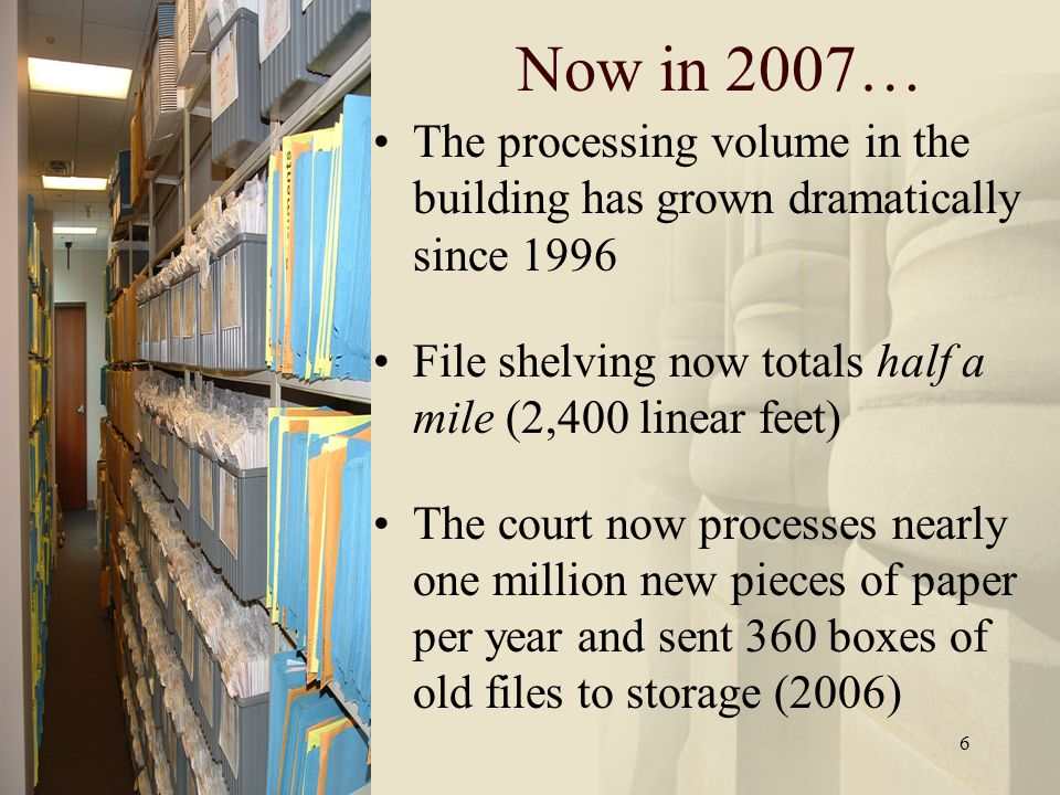 6 The processing volume in the building has grown dramatically since 1996 File shelving now totals half a mile (2,400 linear feet) The court now processes nearly one million new pieces of paper per year and sent 360 boxes of old files to storage (2006) Now in 2007…