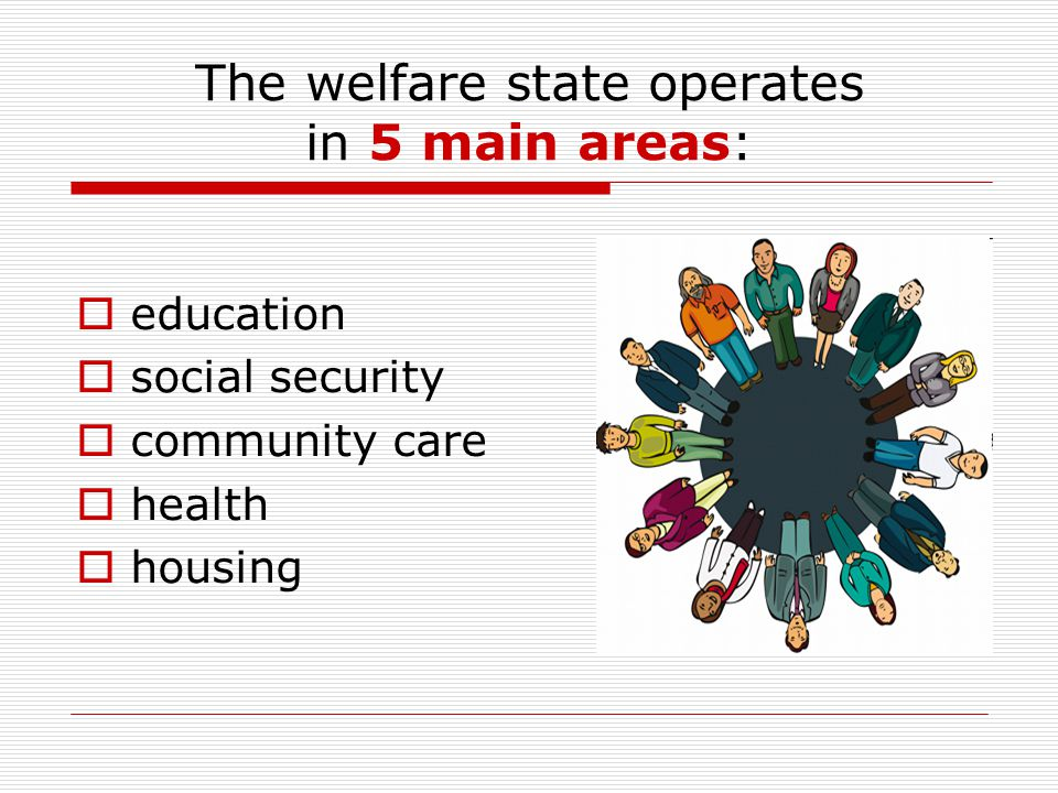 The welfare state operates in 5 main areas:  education  social security  community care  health  housing