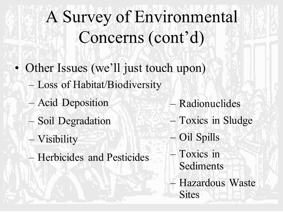 A Survey of Environmental Concerns (cont'd) Other Issues (we'll just touch upon) –Loss of Habitat/Biodiversity –Acid Deposition –Soil Degradation –Visibility –Herbicides and Pesticides –Radionuclides –Toxics in Sludge –Oil Spills –Toxics in Sediments –Hazardous Waste Sites
