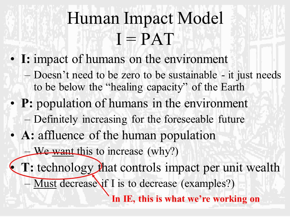 Human Impact Model I = PAT I: impact of humans on the environment –Doesn't need to be zero to be sustainable - it just needs to be below the healing capacity of the Earth P: population of humans in the environment –Definitely increasing for the foreseeable future A: affluence of the human population –We want this to increase (why?) T: technology that controls impact per unit wealth –Must decrease if I is to decrease (examples?) In IE, this is what we're working on