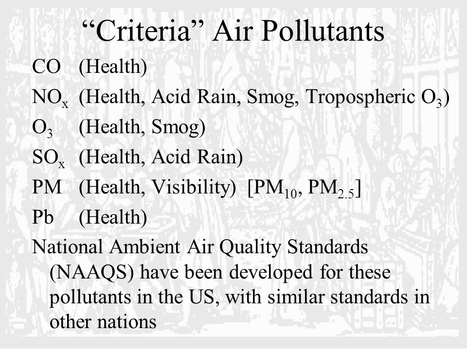 Criteria Air Pollutants CO(Health) NO x (Health, Acid Rain, Smog, Tropospheric O 3 ) O 3 (Health, Smog) SO x (Health, Acid Rain) PM(Health, Visibility) [PM 10, PM 2.5 ] Pb(Health) National Ambient Air Quality Standards (NAAQS) have been developed for these pollutants in the US, with similar standards in other nations