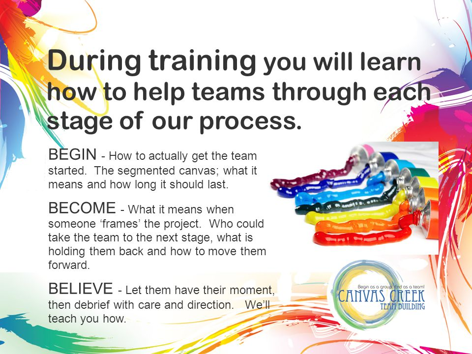 During training you will learn how to help teams through each stage of our process.