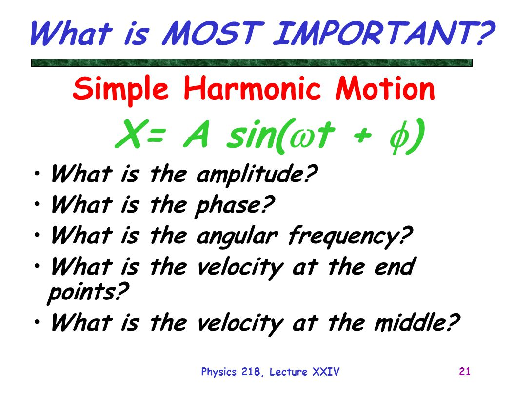 Physics 218, Lecture XXIV21 What is MOST IMPORTANT? Simple Harmonic Motion X= A sin(  t +  ) What is the amplitude? What is the phase? What is the a