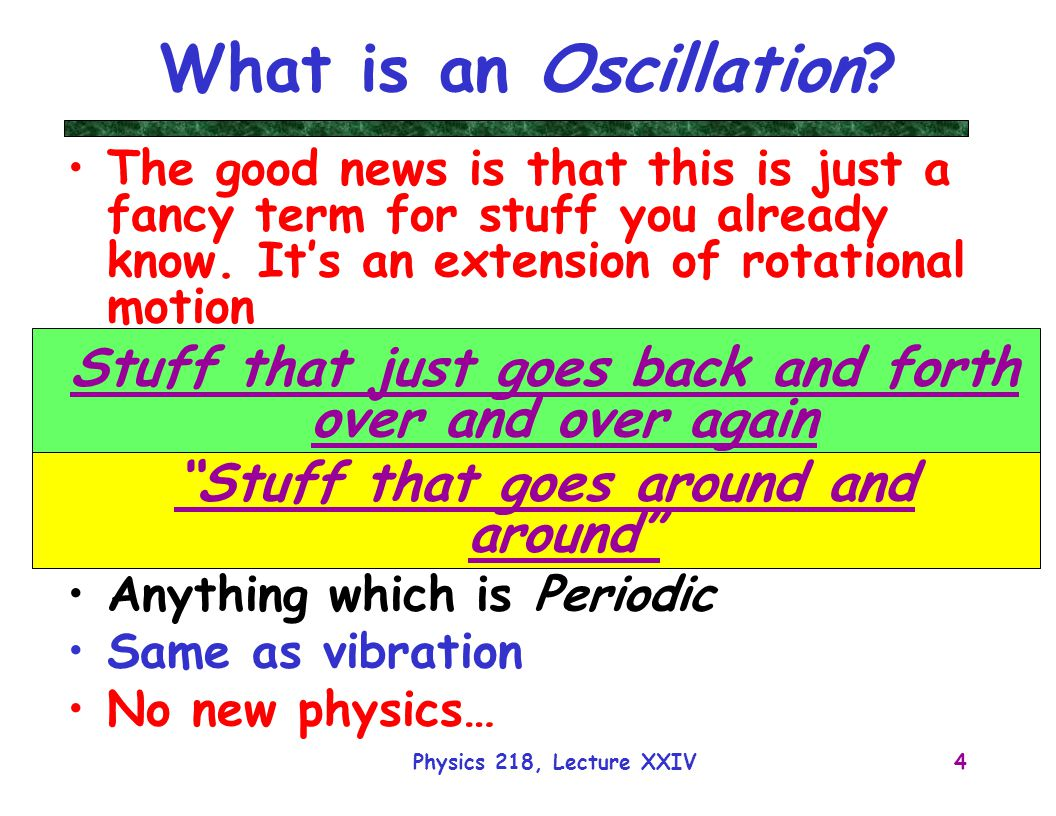 Physics 218, Lecture XXIV5 Examples Lots of stuff Vibrates or Oscillates: –Radio Waves –Guitar Strings –Atoms –Clocks, etc… In some sense, the Moon oscillates around the Earth