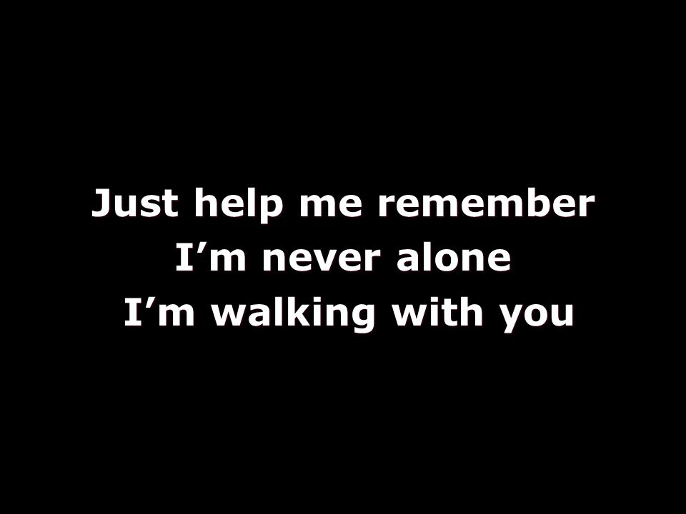 Just help me remember I'm never alone I'm walking with you