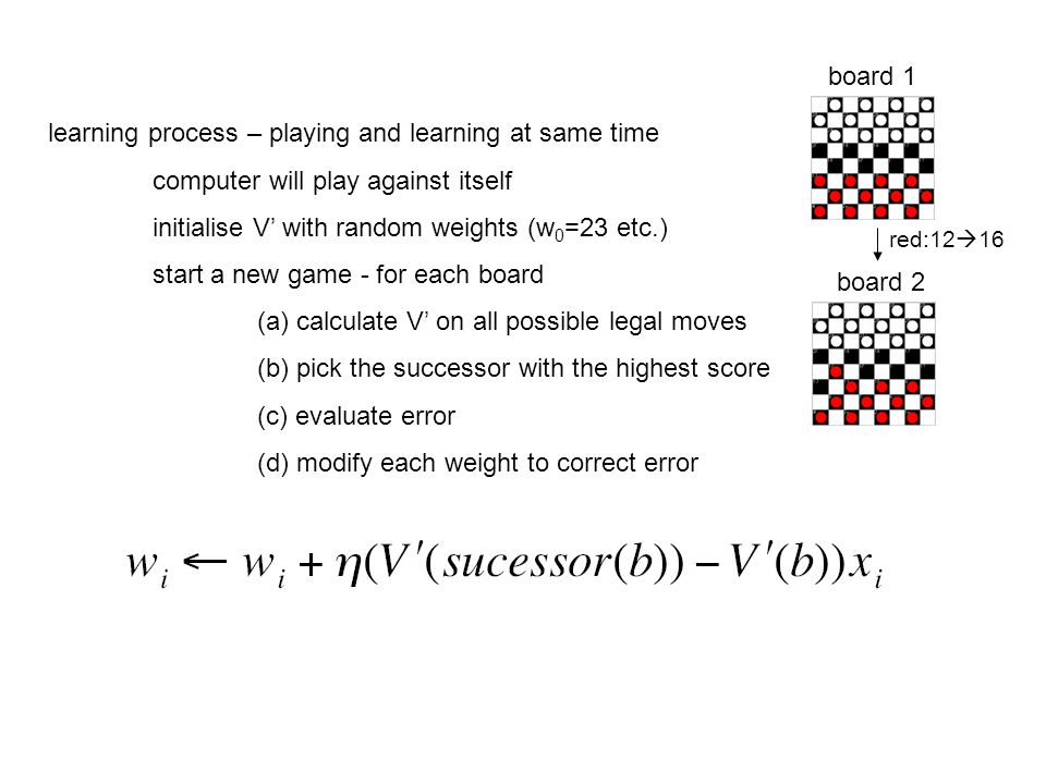 learning process – playing and learning at same time computer will play against itself initialise V' with random weights (w 0 =23 etc.) start a new game - for each board (a) calculate V' on all possible legal moves (b) pick the successor with the highest score (c) evaluate error (d) modify each weight to correct error board 1 board 2 red:12  16