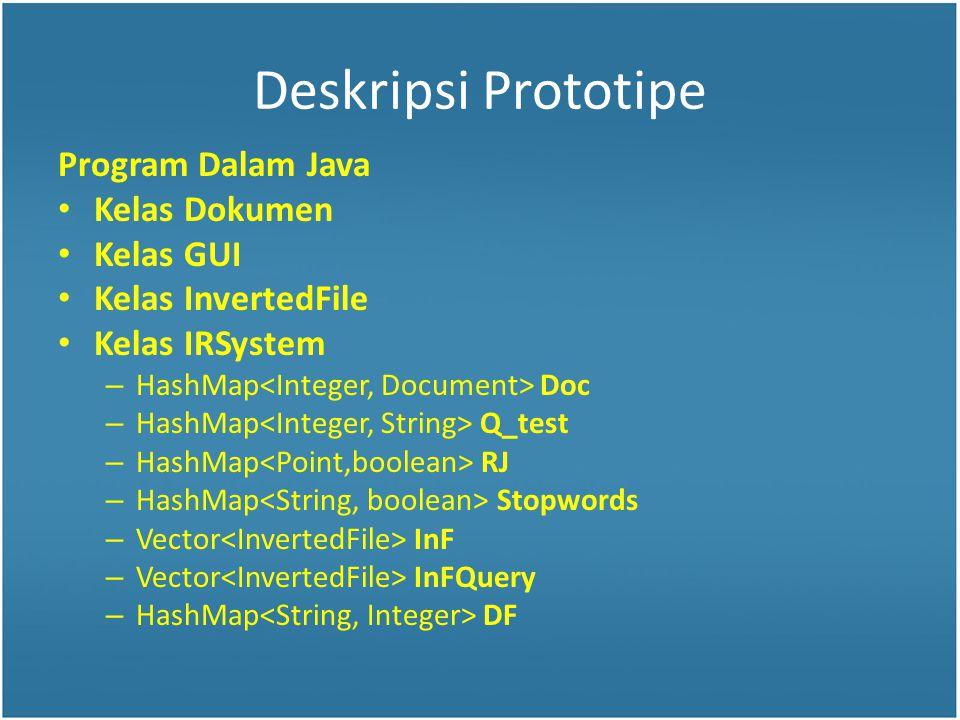 Deskripsi Prototipe Program Dalam Java Kelas Dokumen Kelas GUI Kelas InvertedFile Kelas IRSystem – HashMap Doc – HashMap Q_test – HashMap RJ – HashMap Stopwords – Vector InF – Vector InFQuery – HashMap DF