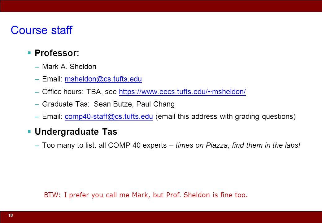 © 2010 Noah Mendelsohn Course staff  Professor: –Mark A. Sheldon –Email: msheldon@cs.tufts.edumsheldon@cs.tufts.edu –Office hours: TBA, see https://w