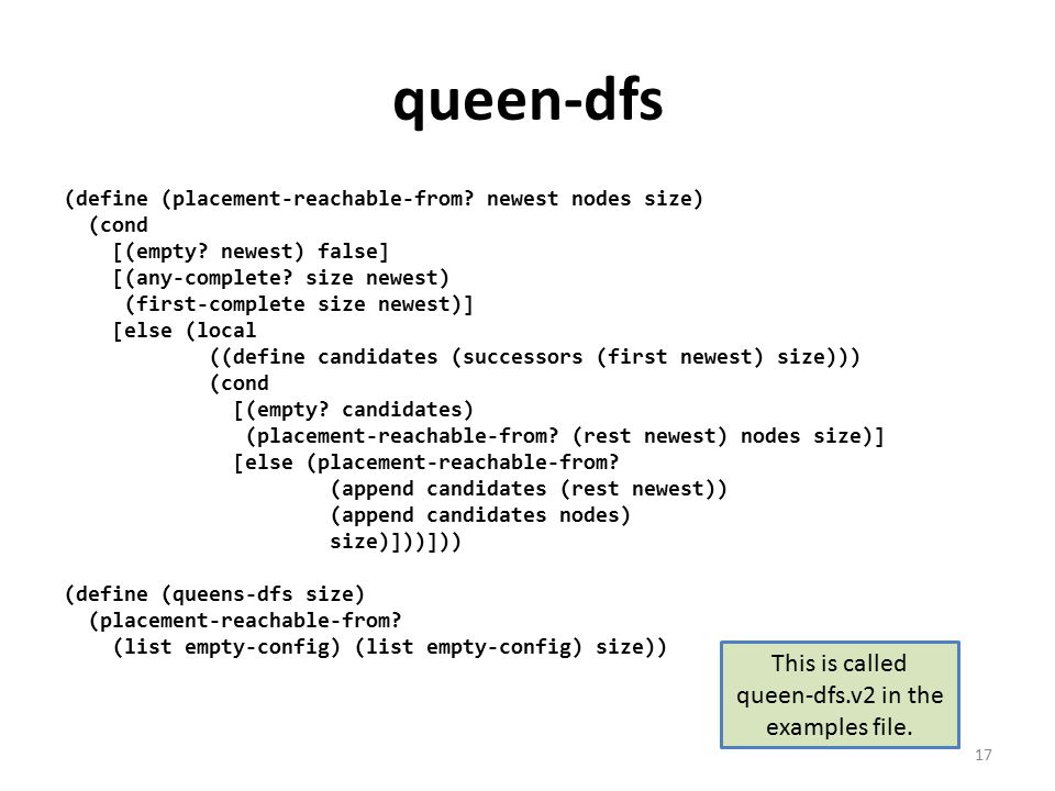 queen-dfs (define (placement-reachable-from. newest nodes size) (cond [(empty.