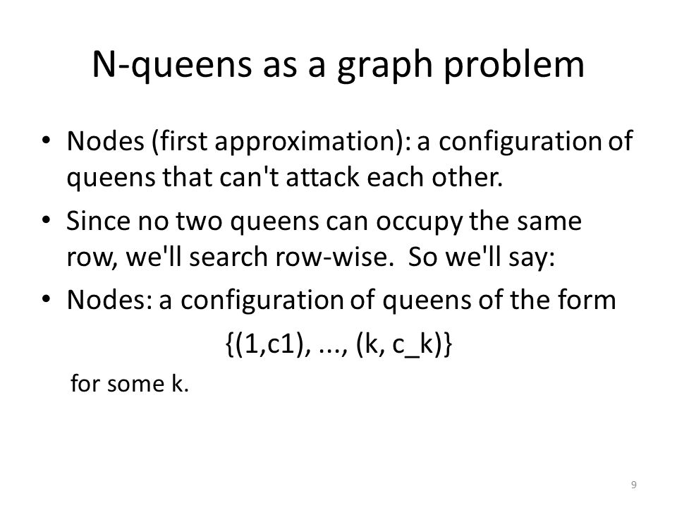 N-queens as a graph problem Nodes (first approximation): a configuration of queens that can t attack each other.