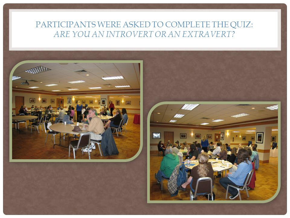 PARTICIPANTS WERE ASKED TO COMPLETE THE QUIZ: ARE YOU AN INTROVERT OR AN EXTRAVERT