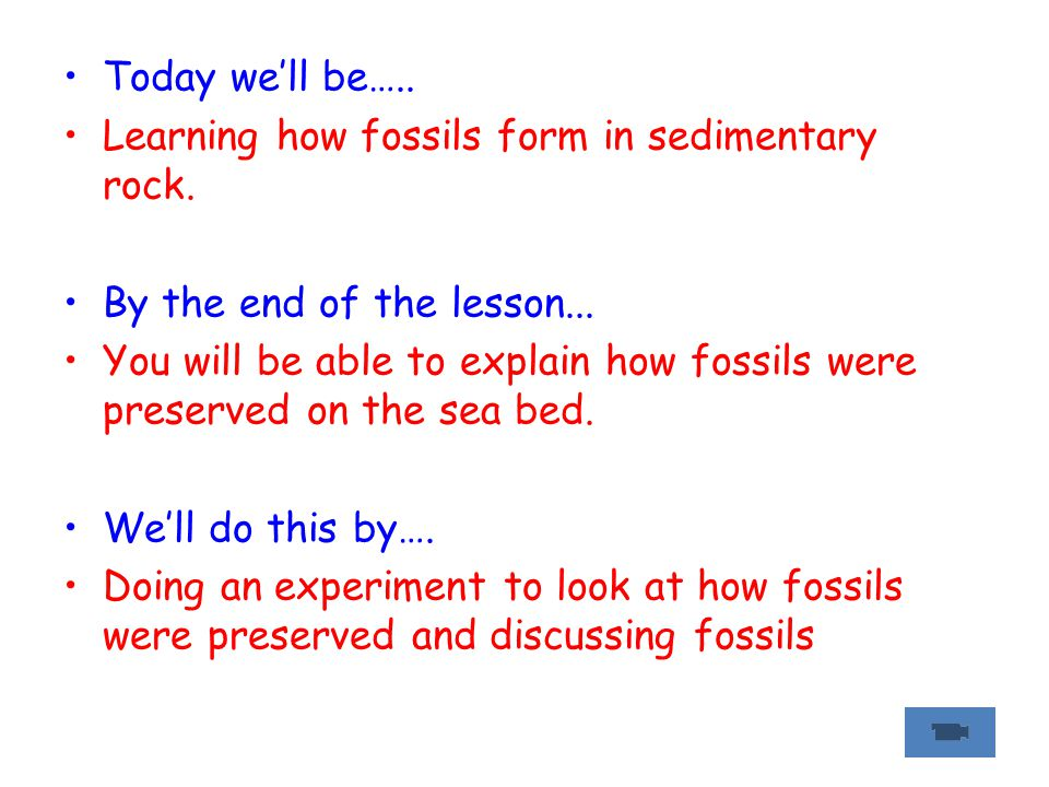 Today we'll be….. Learning how fossils form in sedimentary rock. By the end of the lesson... You will be able to explain how fossils were preserved on