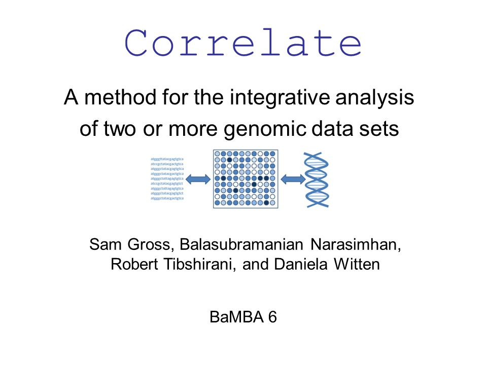 Correlate – Conclusions Can be applied to any pair of data sets: SNP, methylation, microRNA expression data, and more….