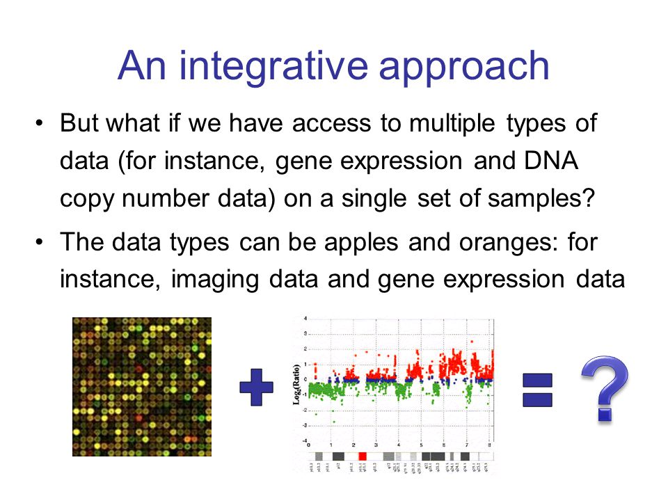 An integrative approach But what if we have access to multiple types of data (for instance, gene expression and DNA copy number data) on a single set of samples.
