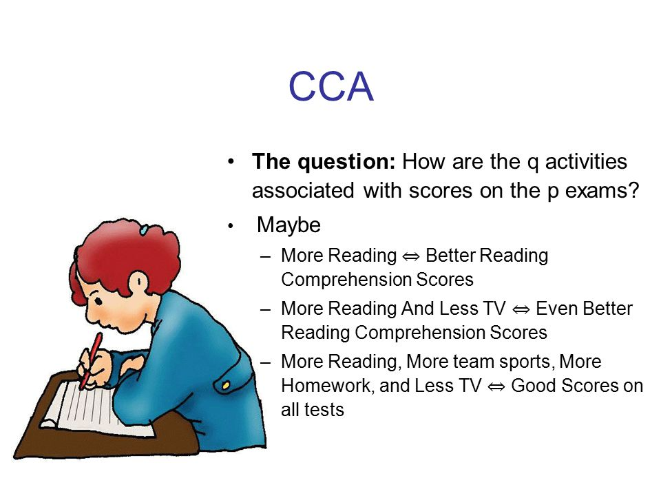 CCA The question: How are the q activities associated with scores on the p exams.