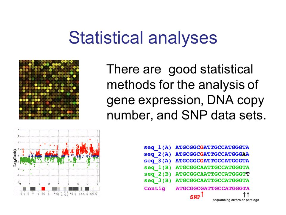 Statistical analyses There are good statistical methods for the analysis of gene expression, DNA copy number, and SNP data sets.