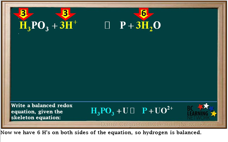 Now we have 6 H's on both sides of the equation, so hydrogen is balanced.