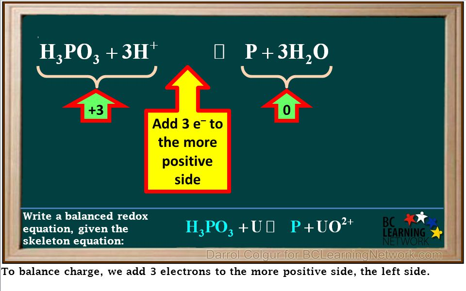 To balance charge, we add 3 electrons to the more positive side, the left side. Write a balanced redox equation, given the skeleton equation: +30 Add