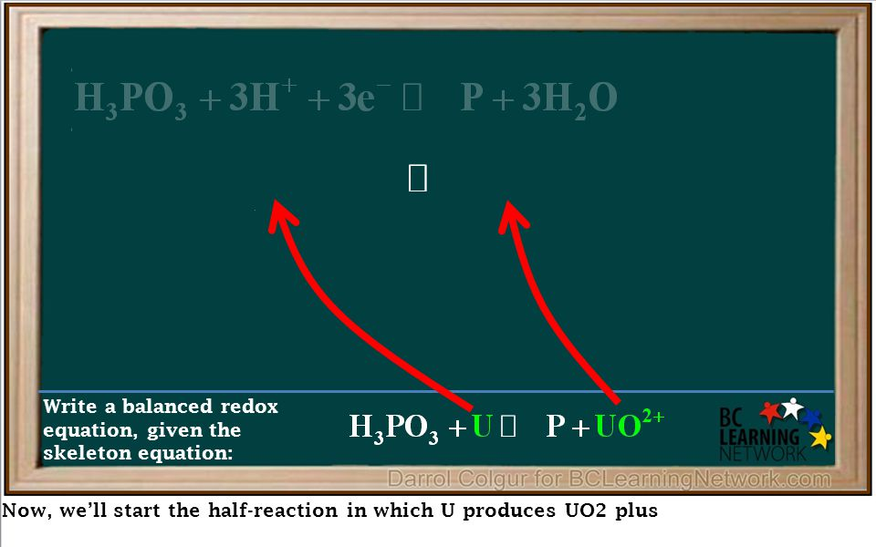 Now, we'll start the half-reaction in which U produces UO2 plus Write a balanced redox equation, given the skeleton equation: