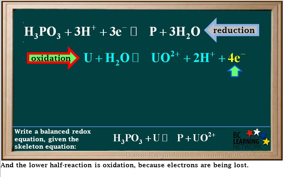 And the lower half-reaction is oxidation, because electrons are being lost. Write a balanced redox equation, given the skeleton equation: reduction ox