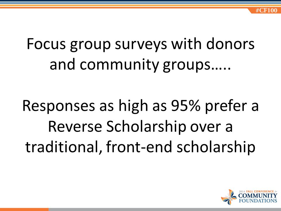 Focus group surveys with donors and community groups…..