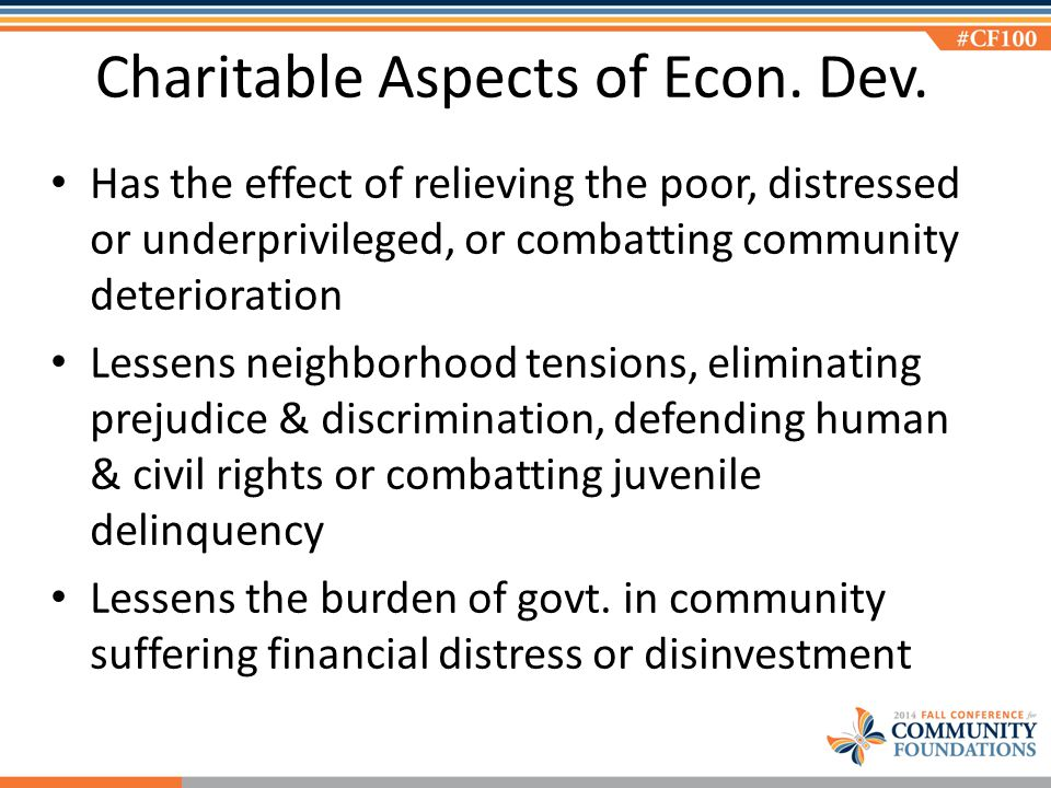 Charitable Aspects of Econ. Dev.