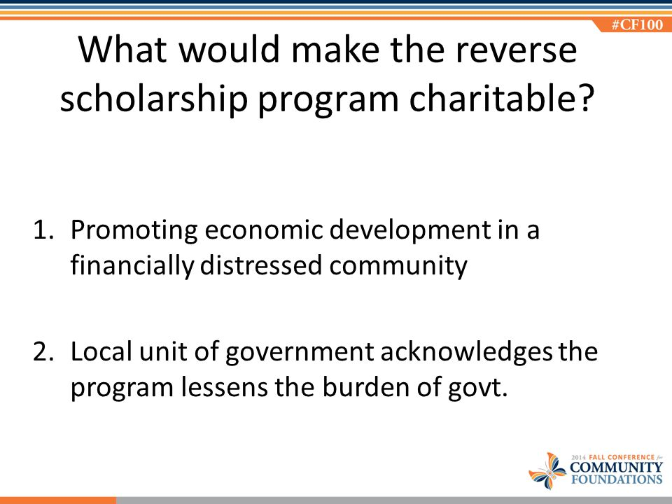 What would make the reverse scholarship program charitable.
